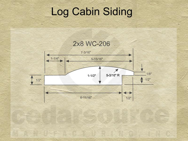 Cedarsource Patterns Log Cabin Siding Wc 206 2x8