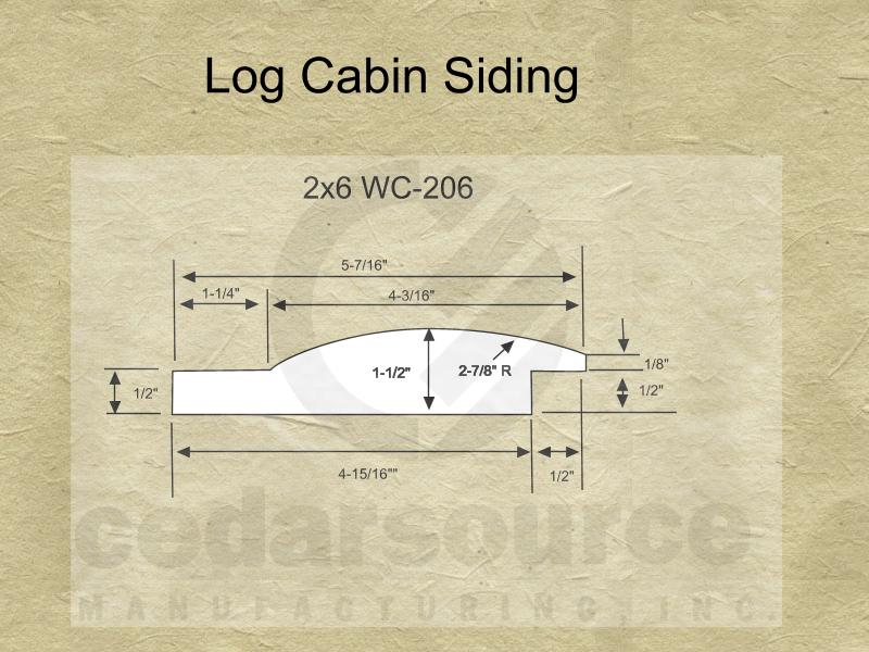 Cedarsource patterns log cabin siding wc 206 2x6 for 2x6 log siding